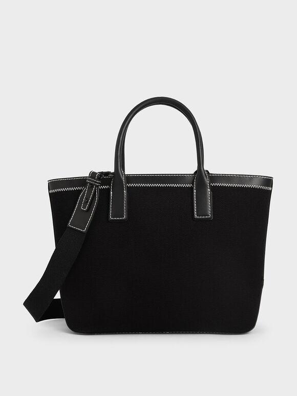 Canvas Double Handle Tote Bag, Black, hi-res