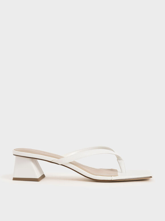 Thong Heeled Sandals, White, hi-res