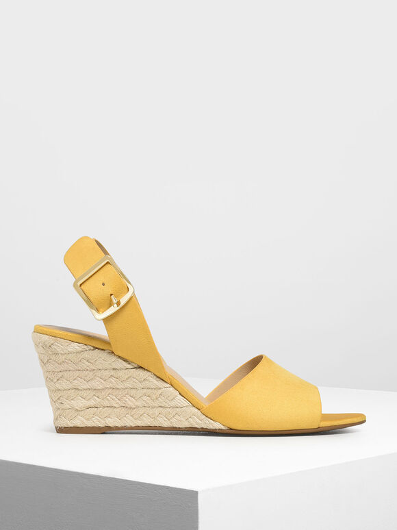 Chunky Buckle Espadrille Wedges, Mustard, hi-res