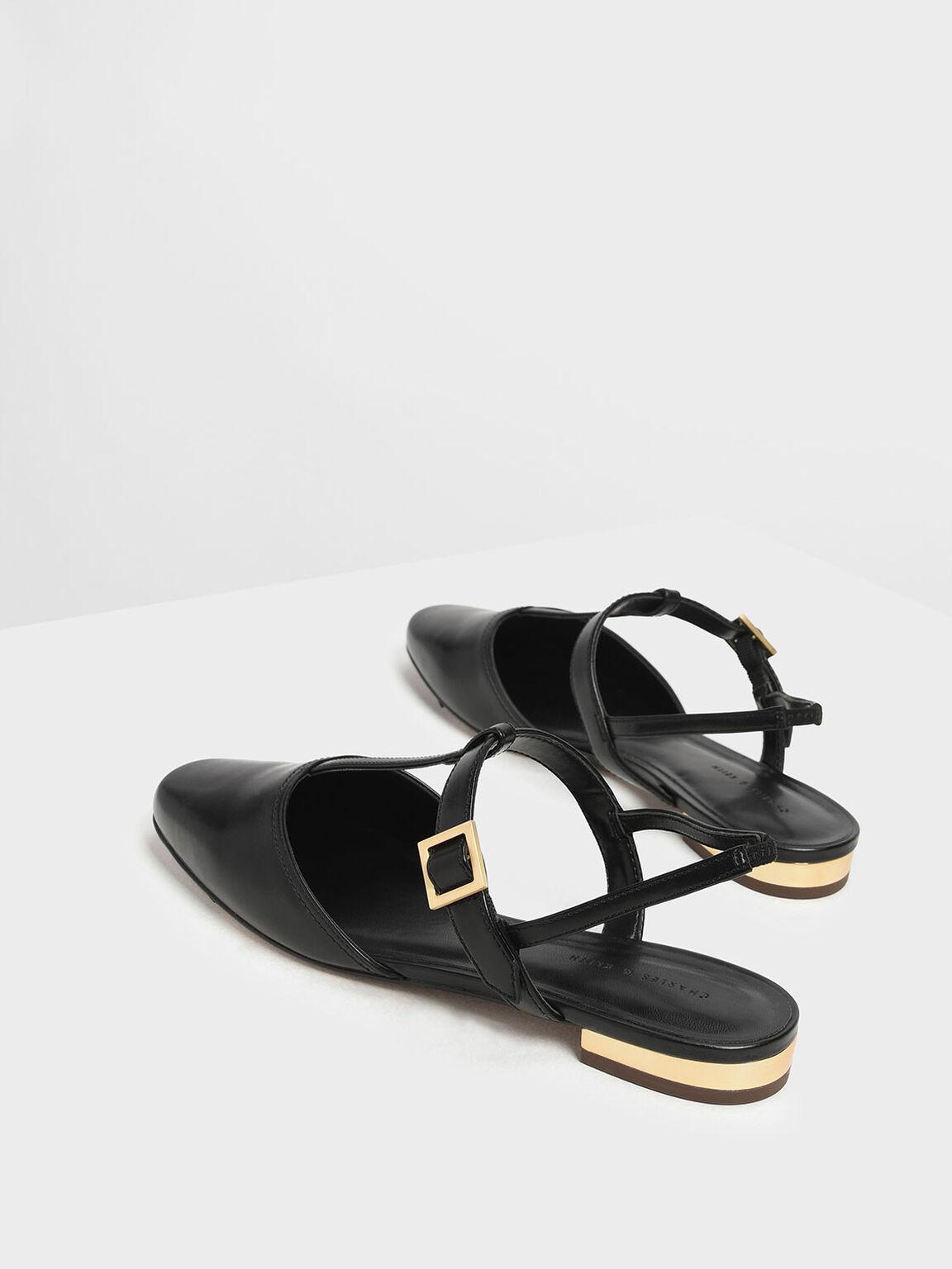 T- Bar Front Covered Sandals, Black, hi-res