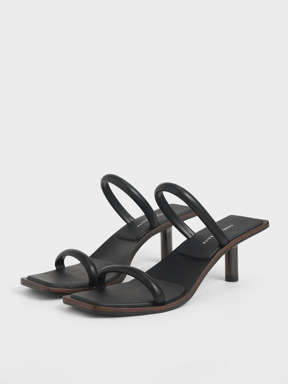 Tubular Strap Heeled Sandals, Black, hi-res