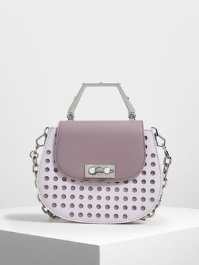 Geometric Top Handle Saddle Bag, Lilac