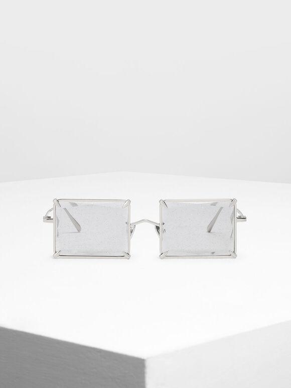 Square Wire Frame Sunglasses, Grey, hi-res