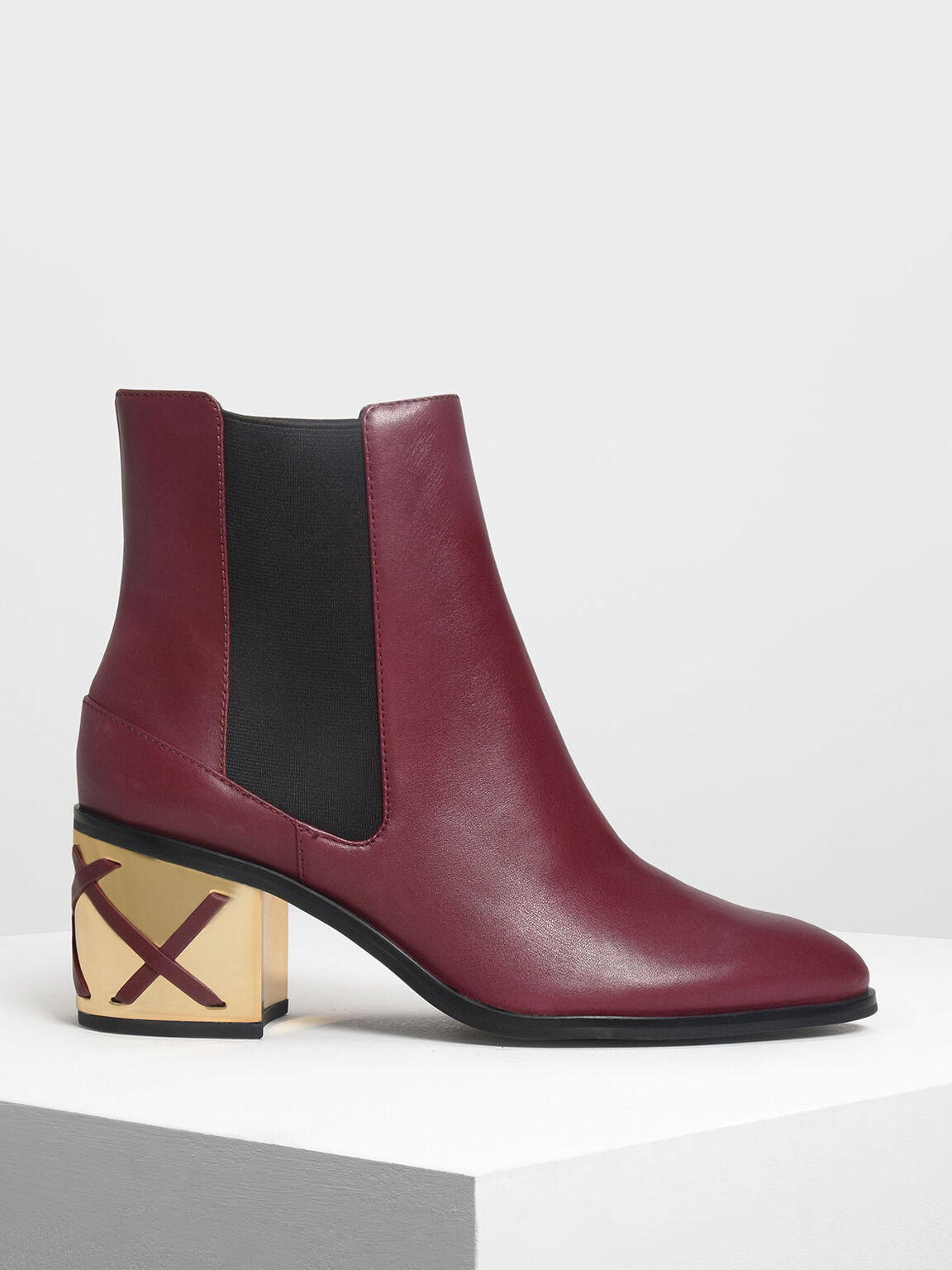 Weave Detail Chrome Heel Leather Chelsea Boots, Burgundy, hi-res
