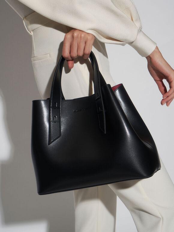 鉚釘手提兩用包, 黑色, hi-res