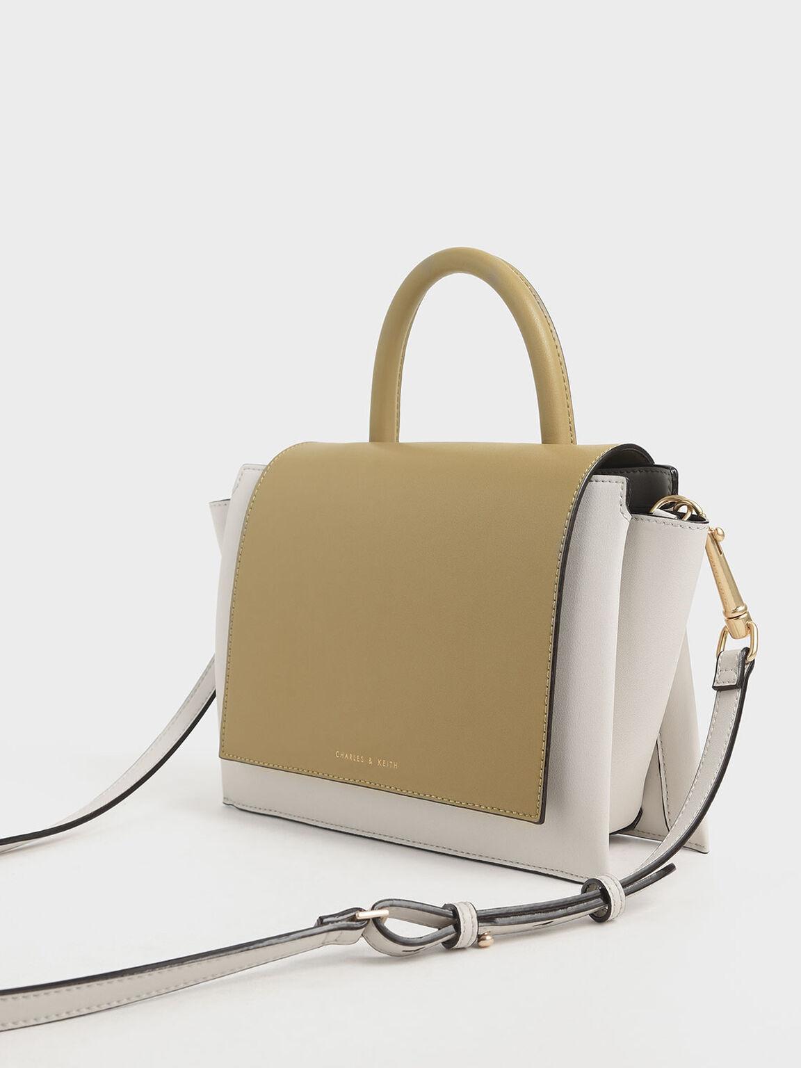 Two-Tone Top Handle Trapeze Bag, Multi, hi-res