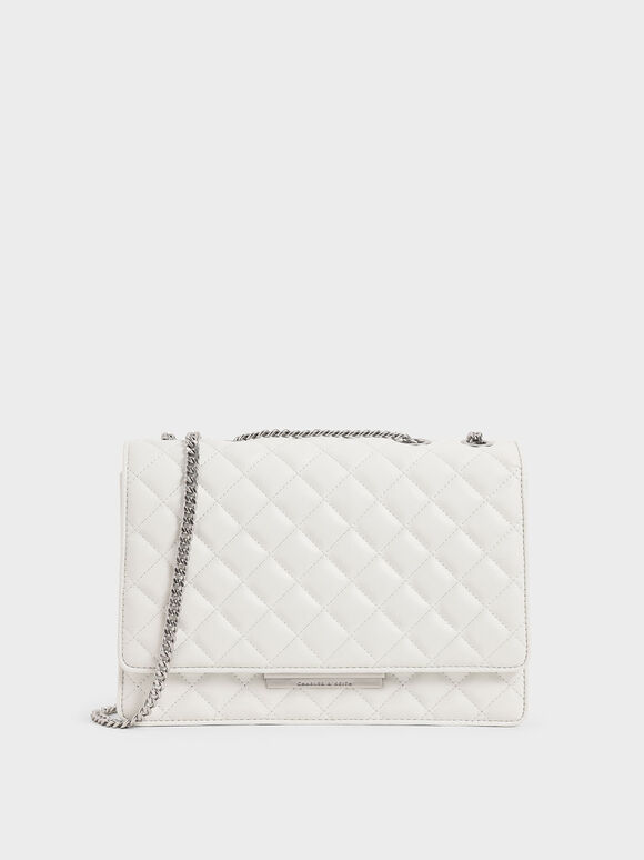 Quilted Chain Strap Shoulder Bag, White, hi-res
