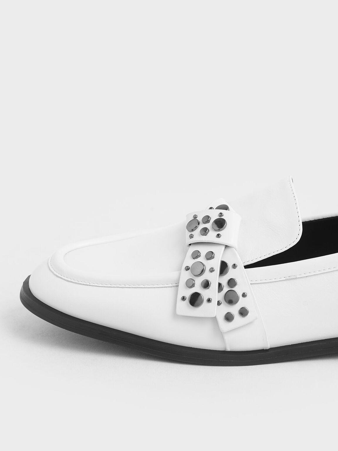 Leather Embellished Strap Loafers, White, hi-res