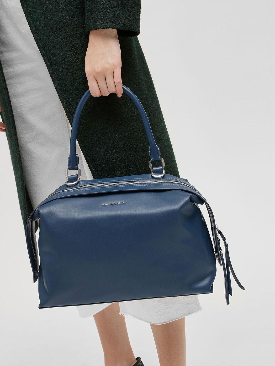 Slouchy Top Handle Bag, Blue, hi-res