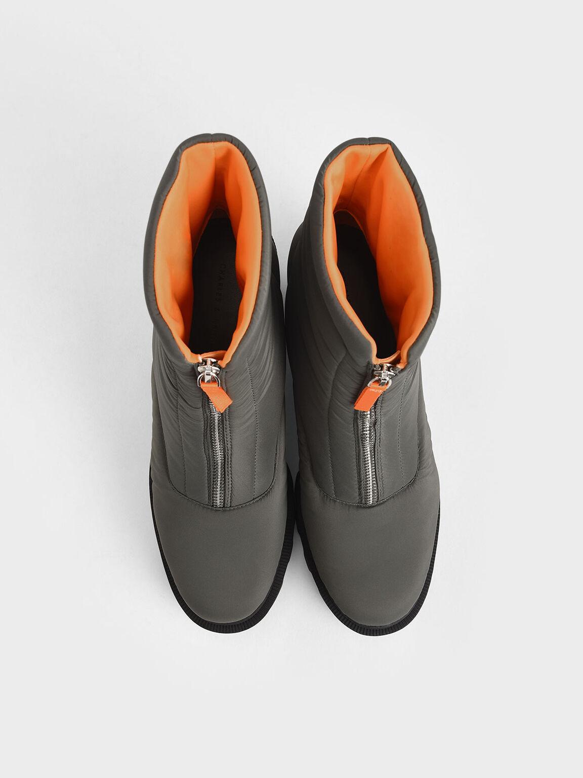 前拉鍊尼龍厚底靴, 灰綠色, hi-res