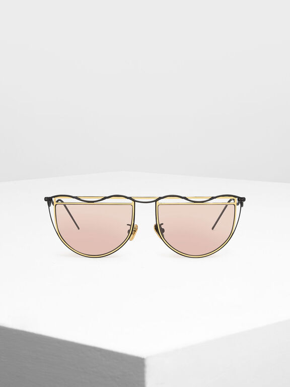 Drop Temple Semi-Circle Sunglasses, Gold