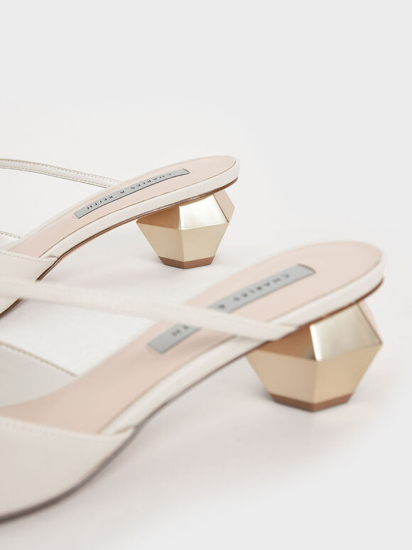 Asymmetric Strap Chrome Heel Mules, Chalk, hi-res