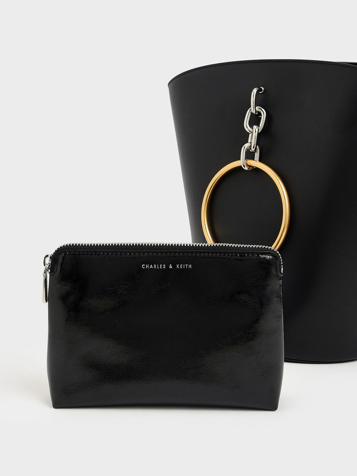 Large Bracelet Bucket Bag, Black, hi-res