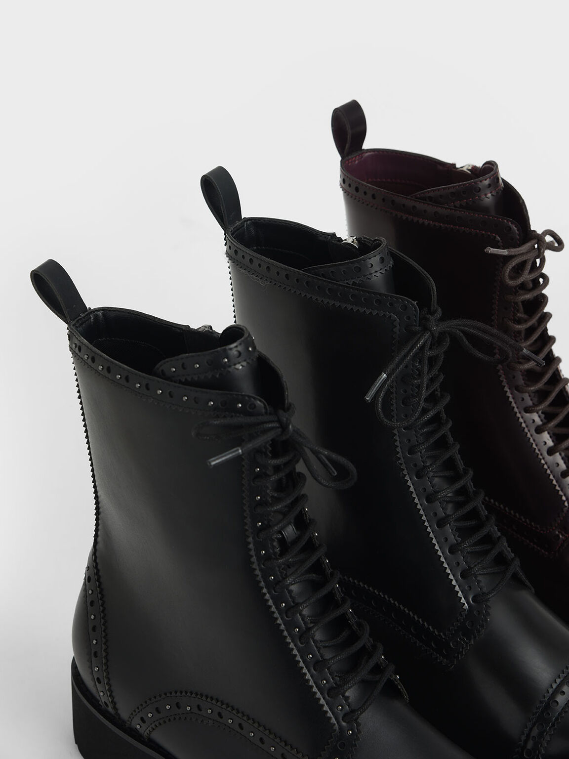Brogue Ankle Boots, Burgundy, hi-res