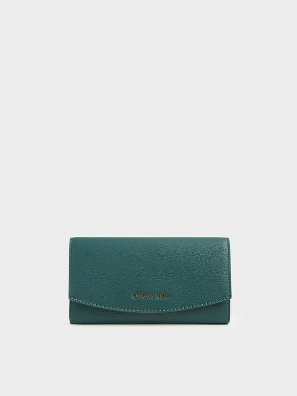 Mini Front Flap Long Wallet, Dark Green, hi-res