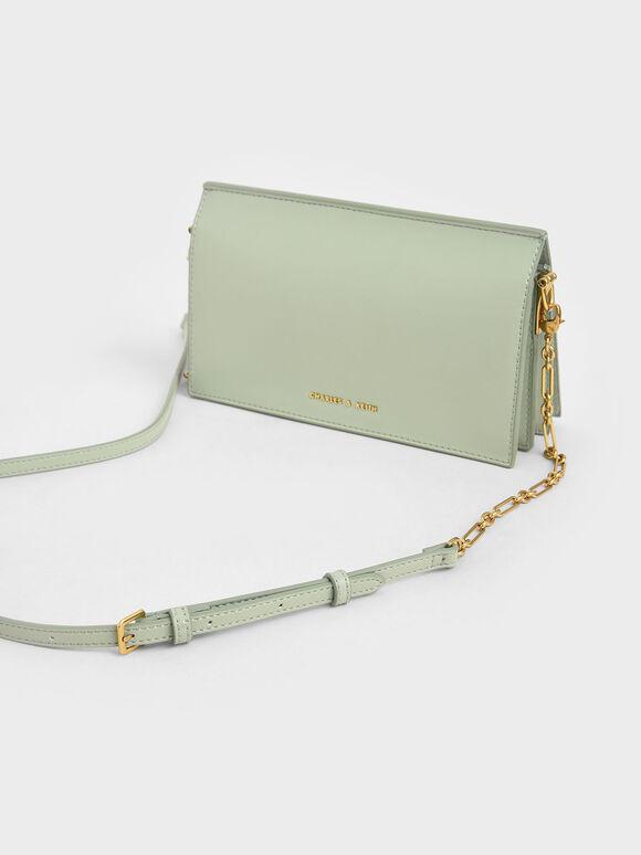Panelled Metallic Push-Lock Wallet, Mint Green, hi-res