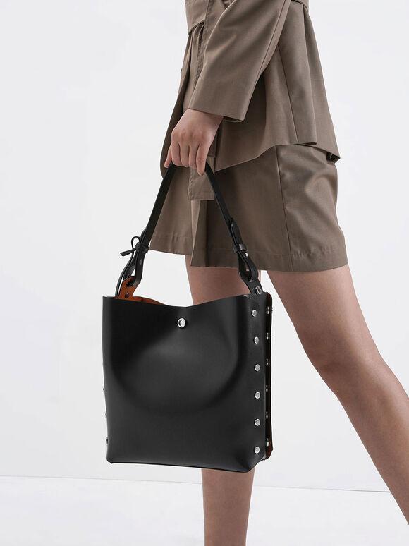 Reversible Studded Trapeze Shoulder Bag, Black, hi-res