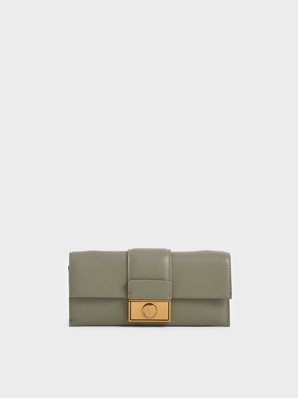 Push-Lock Long Wallet, Sage Green, hi-res