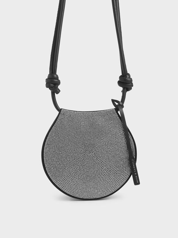 Microsuede Embellished Semi-Circle Bag, Black, hi-res