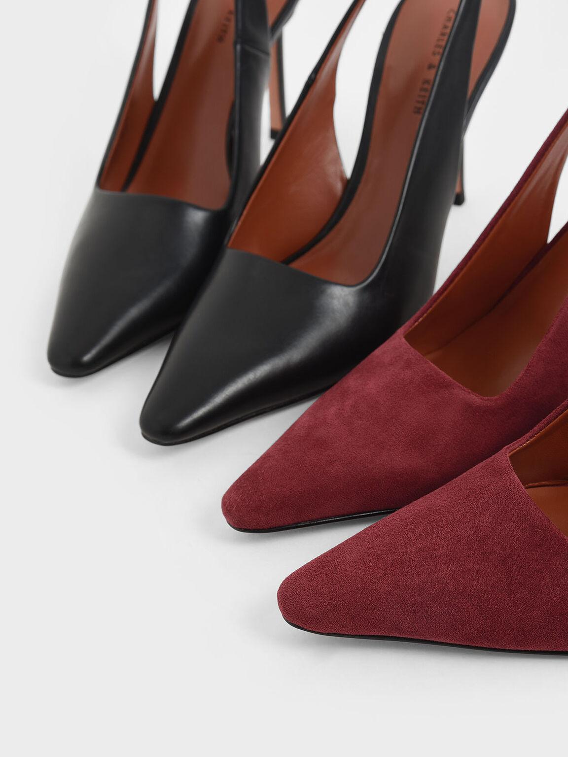 Textured Stiletto Heel Slingback Pumps, Brick, hi-res