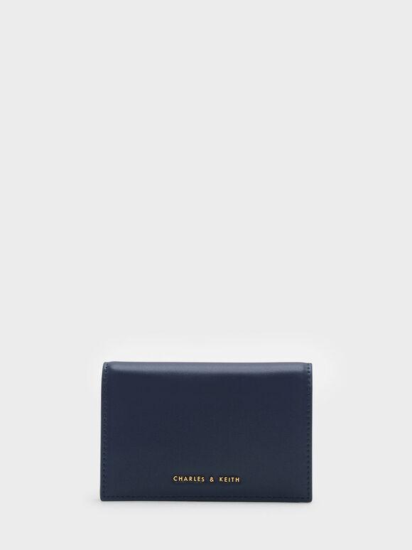 Snap Button Wallet, Navy, hi-res