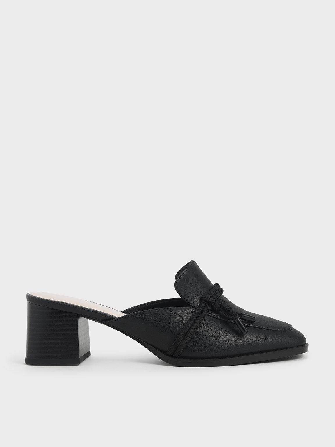 Knot Detail Mules, Black, hi-res