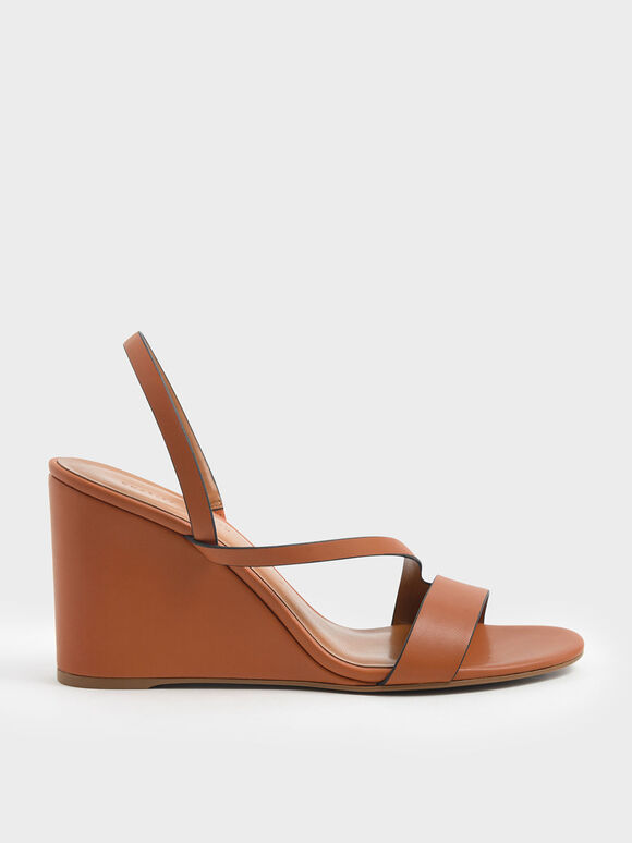 Asymmetric Strap Slingback Wedges, Orange, hi-res