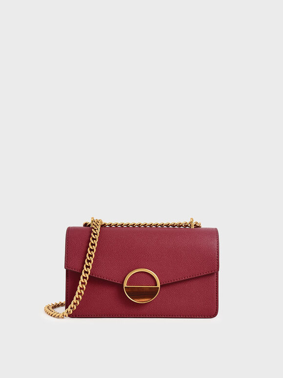 Stone Embellished-Buckle Shoulder Bag, Berry, hi-res