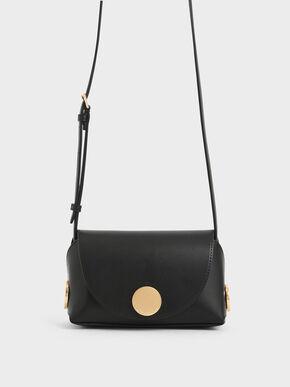 Metal Accent Mini Crossbody Bag, Black