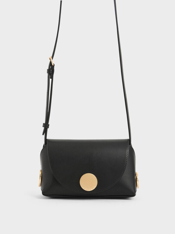 Metal Accent Mini Crossbody Bag, Black, hi-res