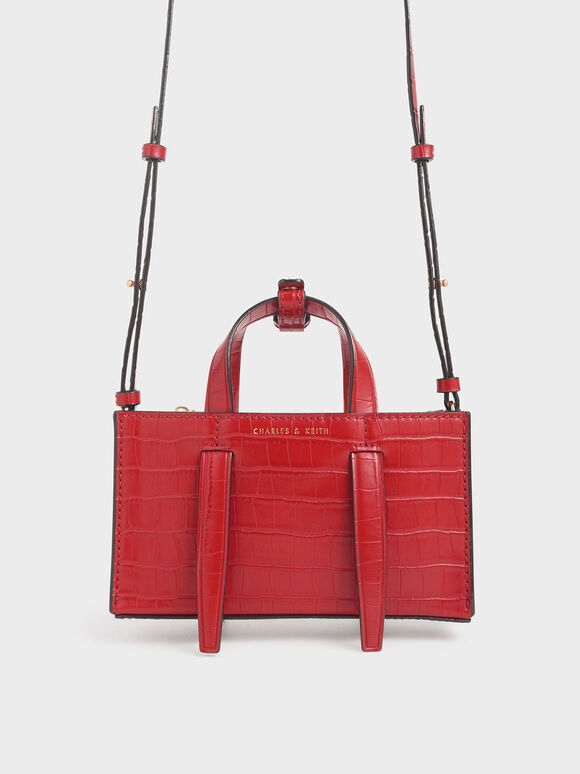 Croc-Effect Double Top Handle Bag, Red, hi-res