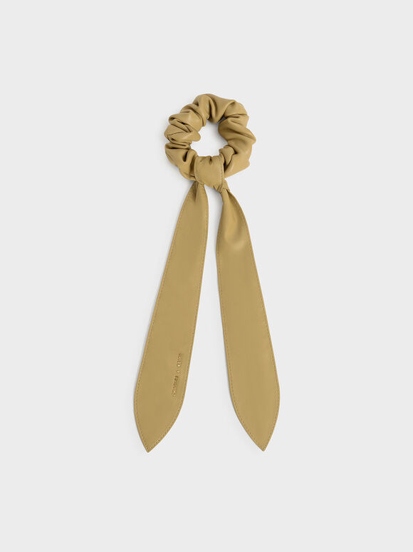 Riley Ruched Bow Scrunchie, Sand, hi-res