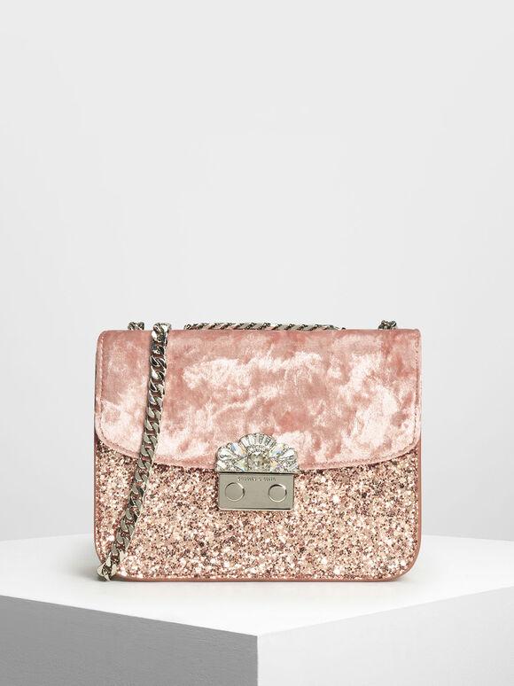 Velvet Push Lock Evening Bag, Light Pink, hi-res