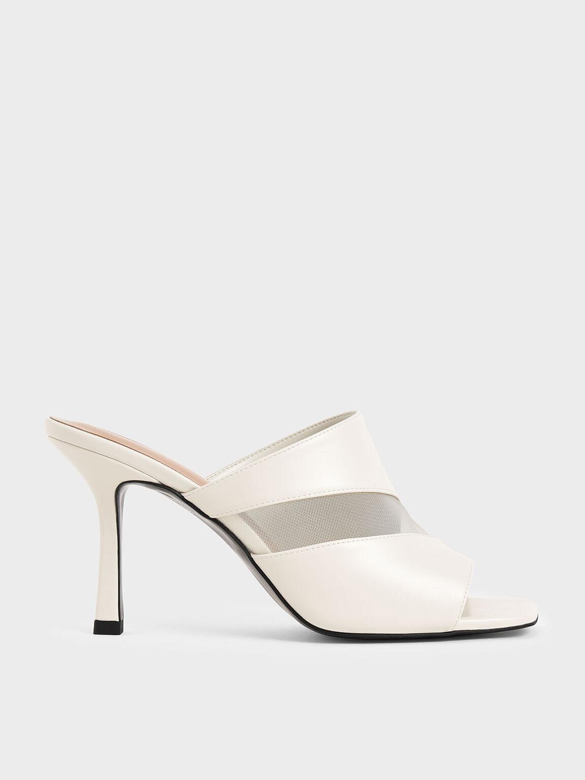網紗高跟拖鞋, 石灰白, hi-res