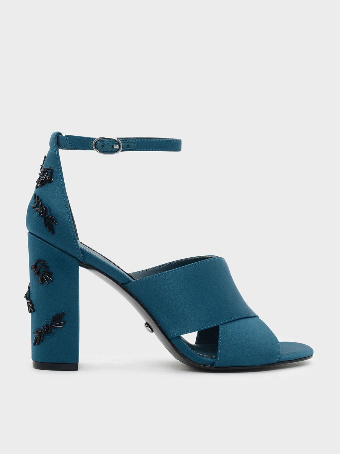 Embellished Block Heel Satin Sandals, Teal, hi-res