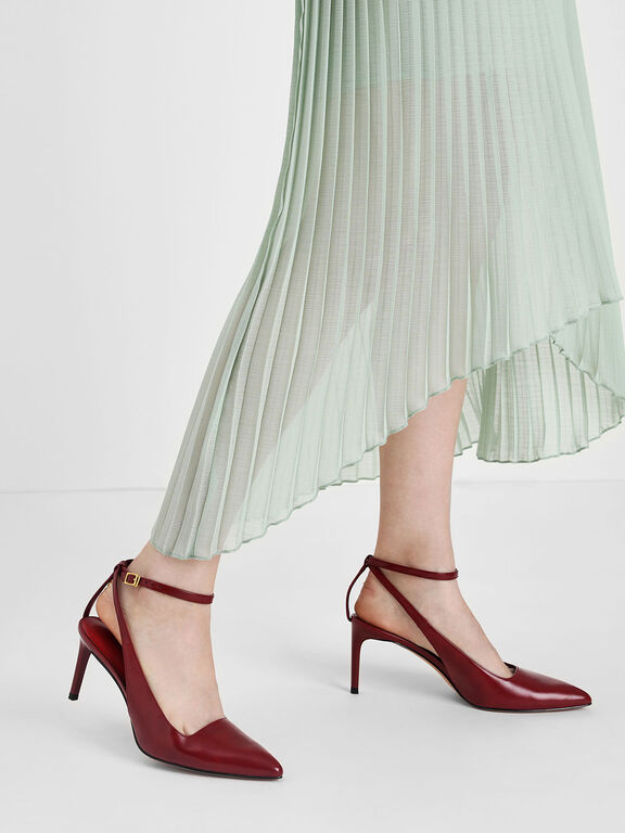 Ankle Strap Slingback Pumps, Red