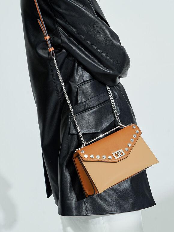 Studded Crossbody Bag, Nude, hi-res