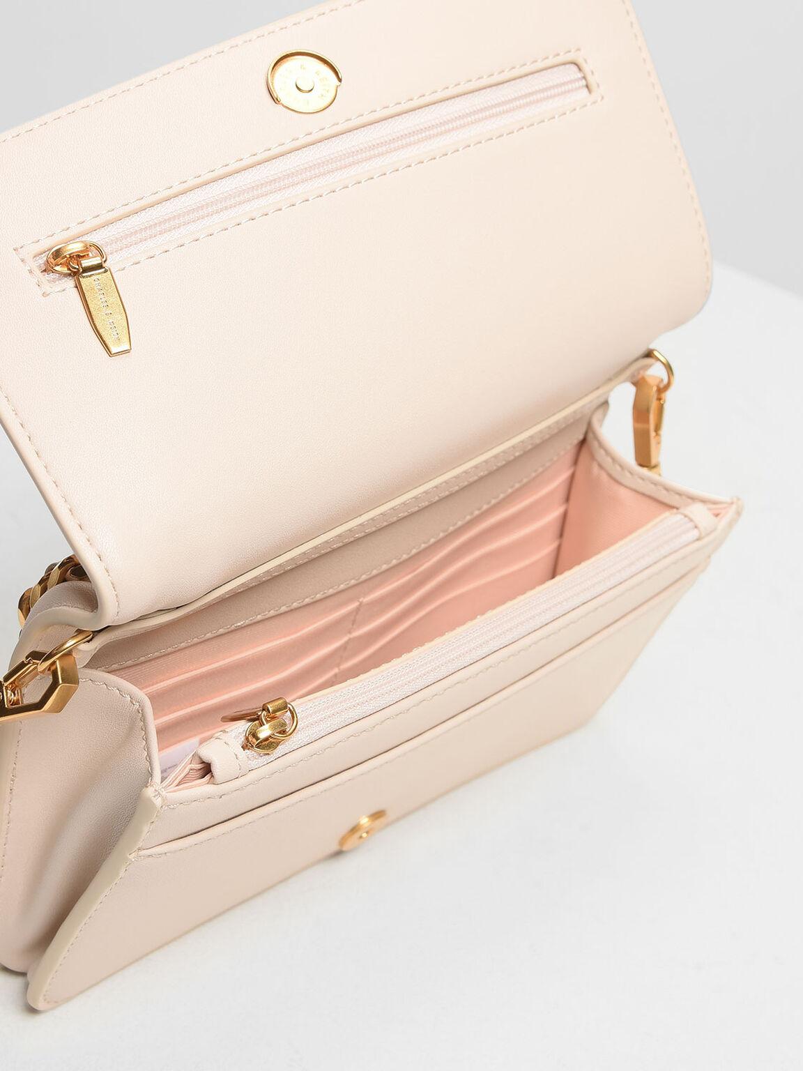 鍊條鑲邊手拿包, 淺粉色, hi-res