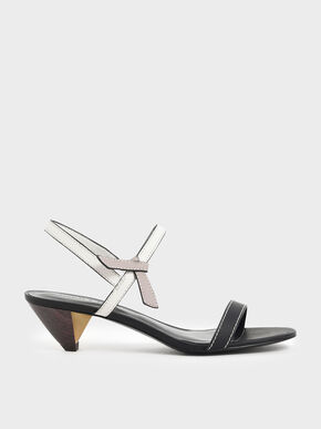 Two-Tone Knotted Bow Cone Heels, Black