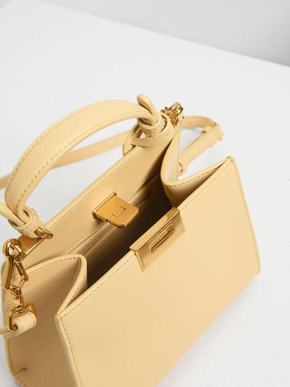 Classic Metal Detail Push Lock Bag, Yellow, hi-res