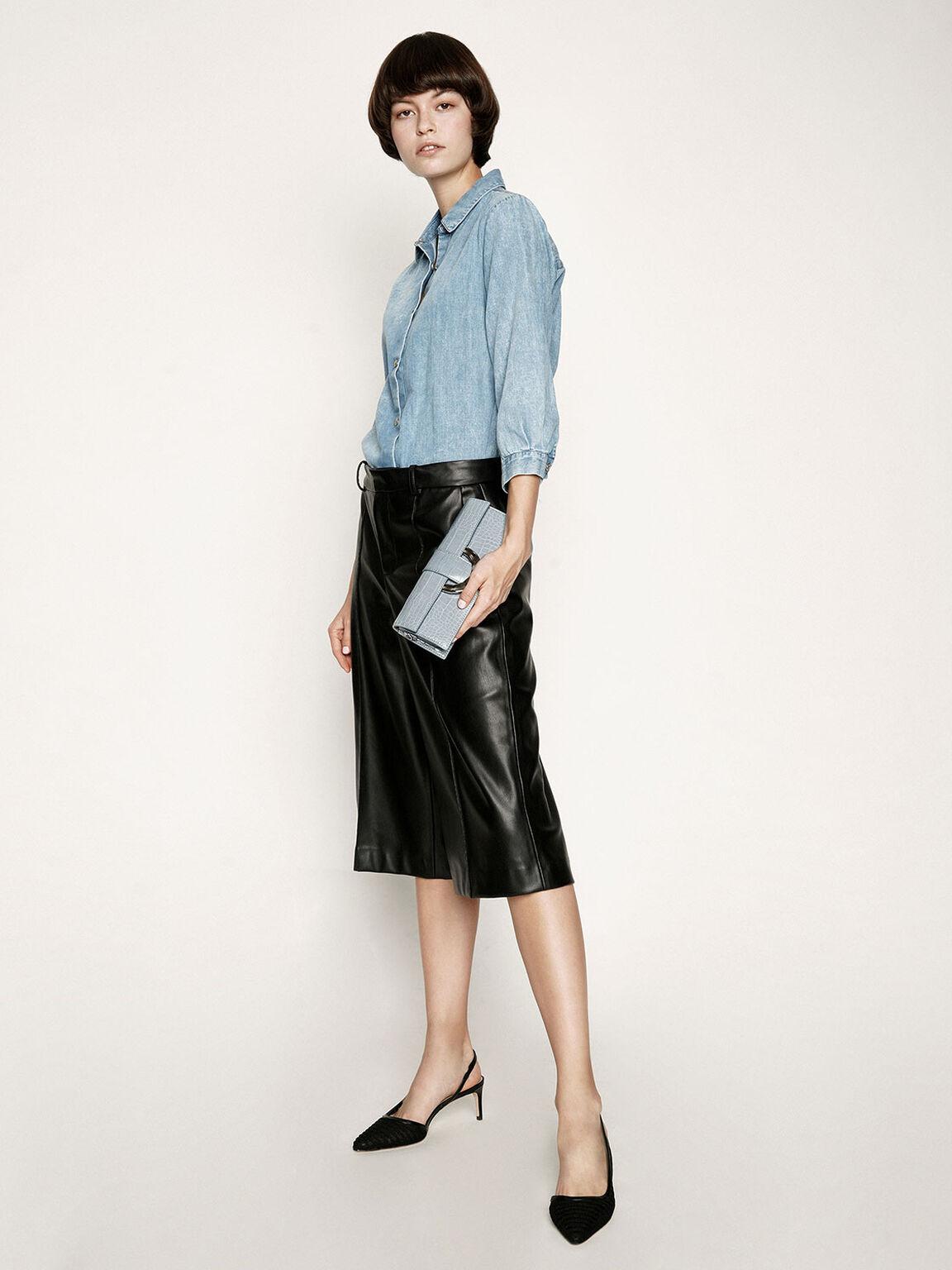 Mesh D'Orsay Slingback Heels, Black, hi-res