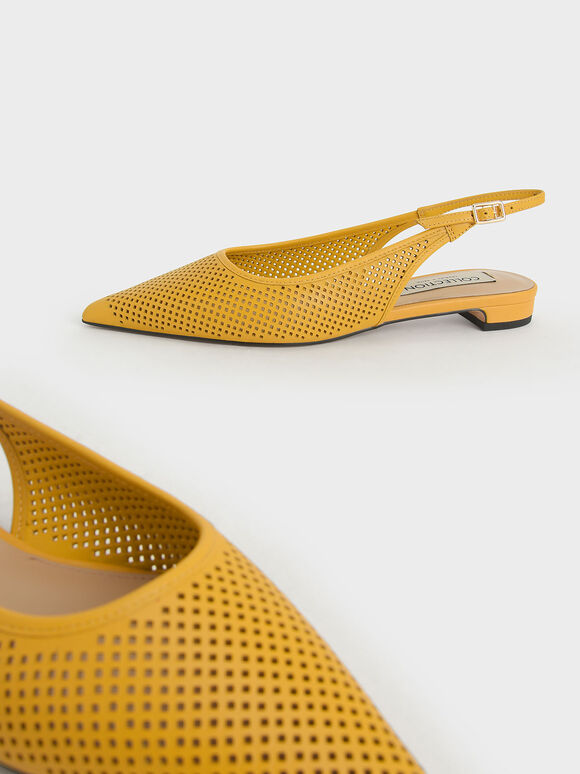 Leather Laser-Cut Slingback Ballerinas, Yellow, hi-res