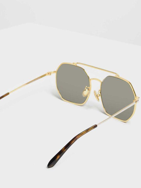 Geometrical Frame Sunglasses, Gold, hi-res