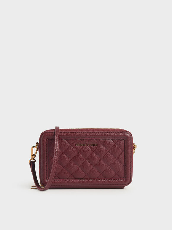 Quilted Zip Around Long Wallet, Burgundy, hi-res