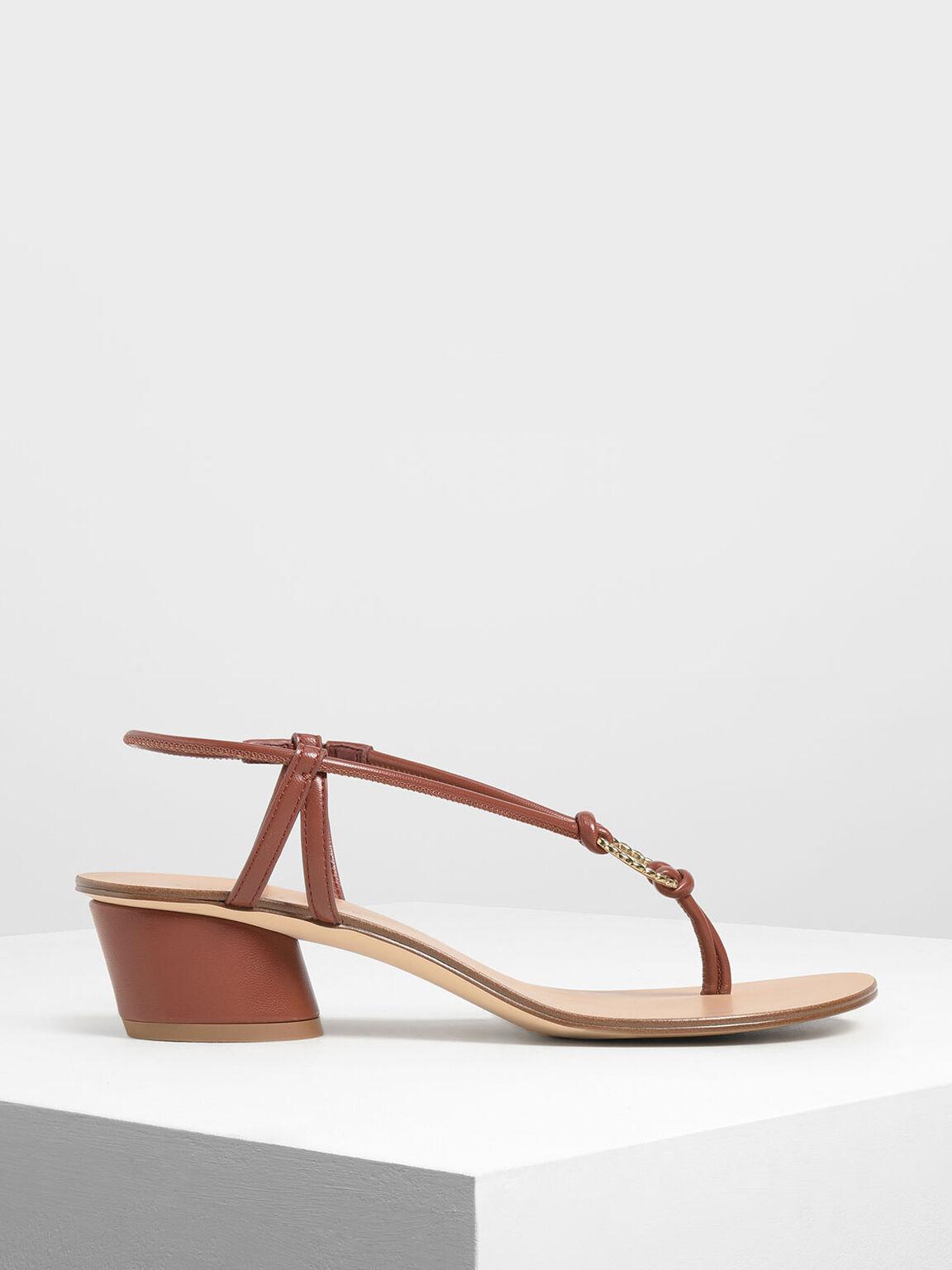 Gold Detail Block Heel Sandals, Dark Brown, hi-res