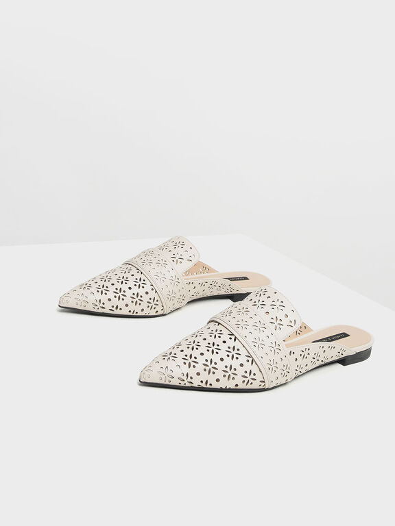 Motif Pointed Toe Mules, White, hi-res
