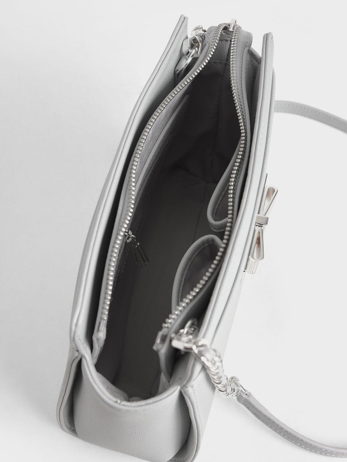Metallic Bow Sling Bag, Dusty Blue, hi-res