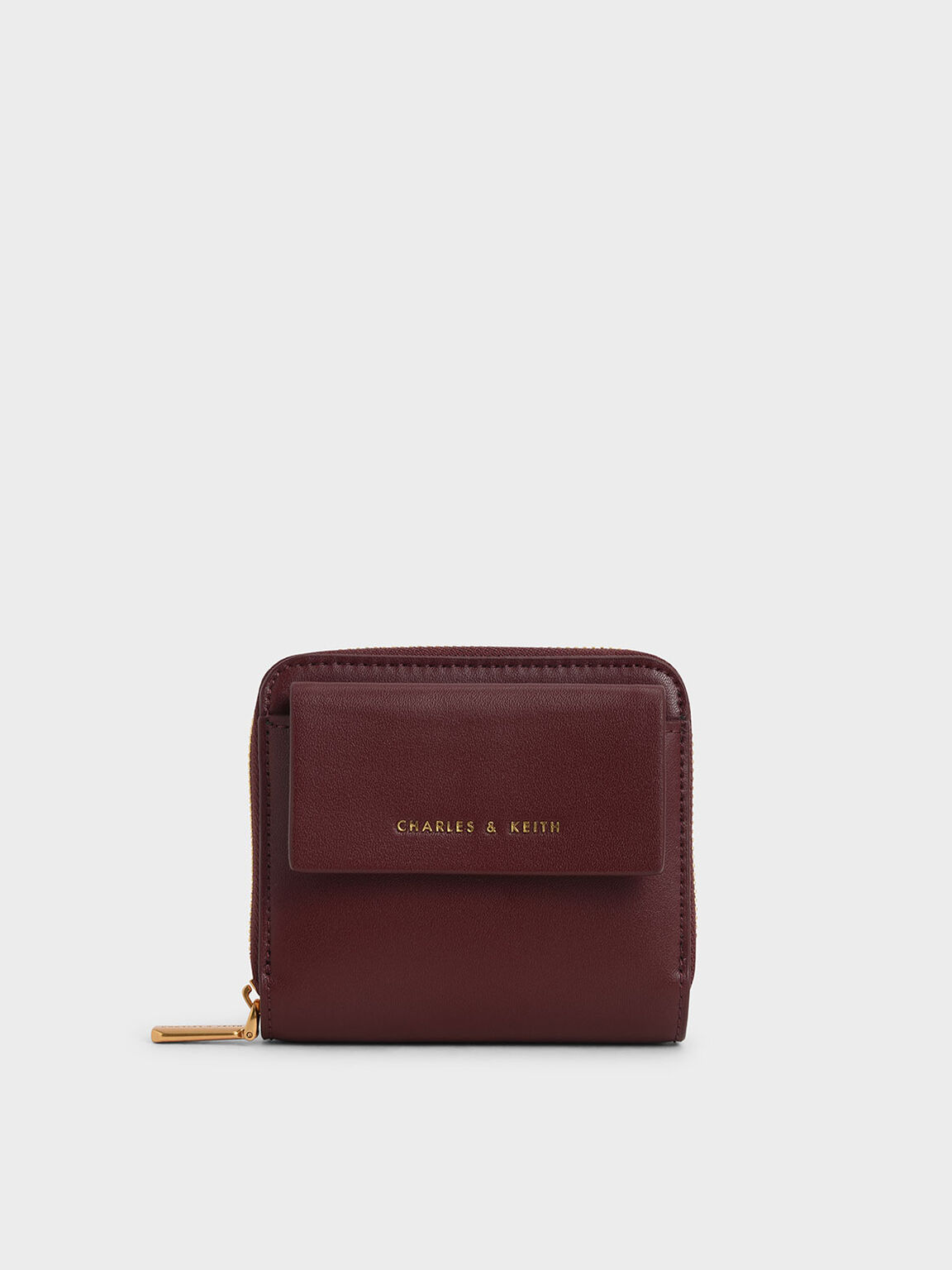 Front Flap Zip-Around Mini Wallet, Burgundy, hi-res