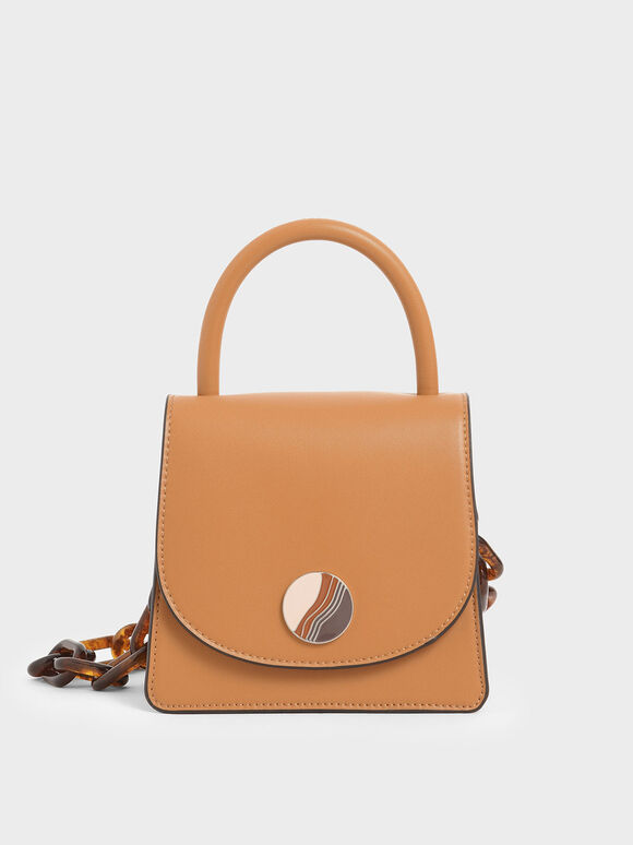 Tortoiseshell Chunky Chain Handle Mini Bag, Caramel, hi-res