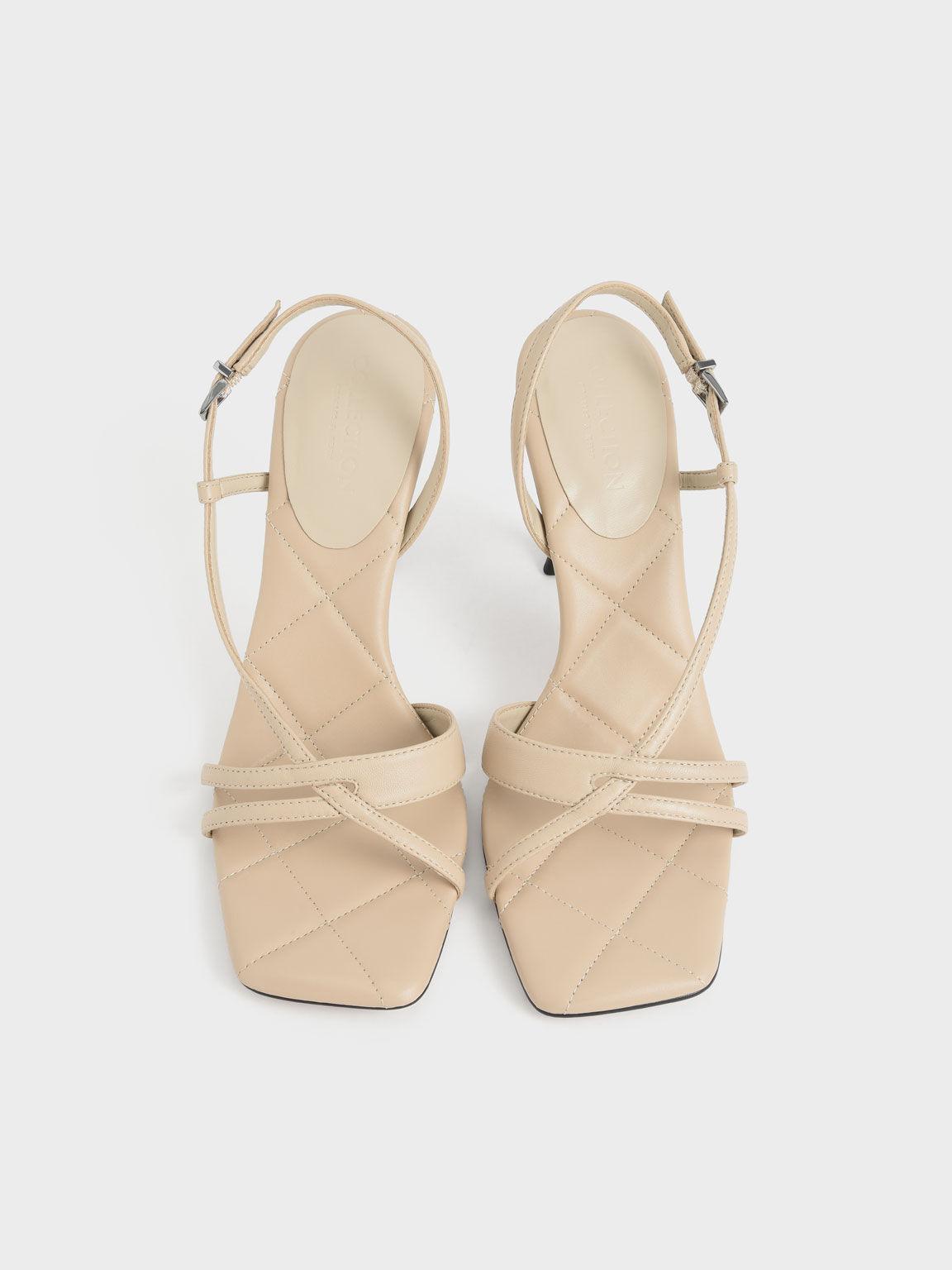 Leather Sculptural Heel Sandals, Chalk, hi-res